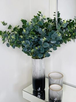 EUCALYPTUS BOUQUET IN BLACK MARBLE 31CM VASE