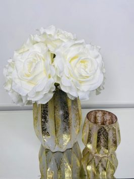 CREAM SILK ROSES IN GOLD MERCURY VASE WITH MATCHING CANDLE HOLDER