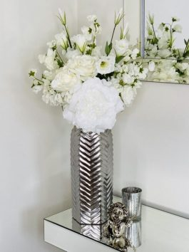 BESPOKE WHITE TEXTURED FLORAL BOUQUET IN STYLISH CHEVRON GUN METAL 38CM VASE