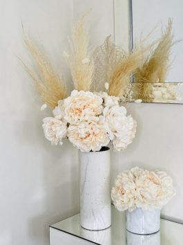 PEACH PEONIES AND PAMPUS, SPECKLED MARBLE 31.5CM VASE