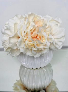 PEACH FAUX PEONIES IN WHITE CERAMIC RIBBED VASE