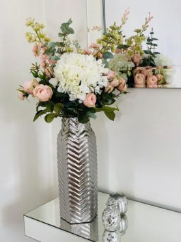 PREMIUM MIXED BOUQUET IN BLUSH PINK AND IVORY IN SILVER CHEVRON 38CM VASE