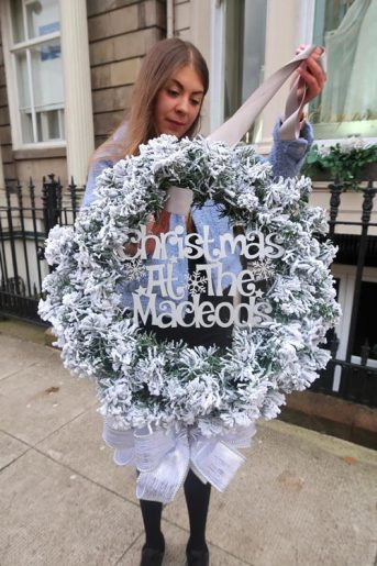 Snowy wreath with personalisation
