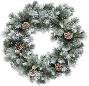 Snowy Christmas Door Wreath with pine cone detail