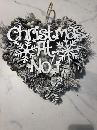 Snowcone Heart Wreath with Personalisation
