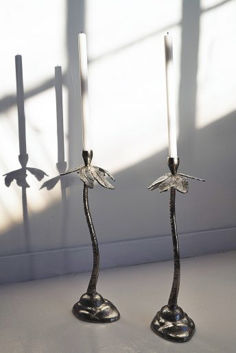 Tropical Silver Dinner Candle Holders 40cm and 49cm