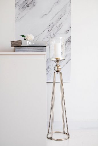 SILVER GLASS FLOOR STANDING HURRICANE CANDLE HOLDER 97cm