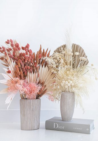 SOPHISTICATED DRIED FLOWER BOUQUET IN STONE RIBBED VASE