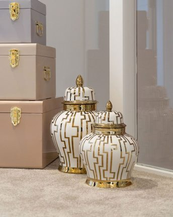 LUXURY GINGER JARS GOLD AND WHITE